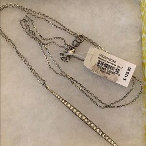 Michael Kors matchstick silver long necklace NWT